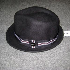 CALVIN KLEIN Black Fedora Hat S/M NWT
